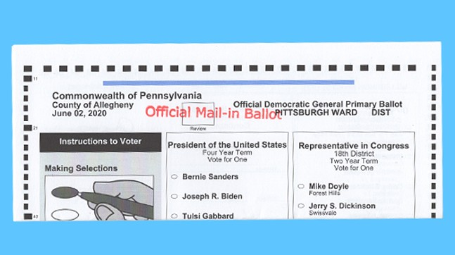 A ballot from the Pennsylvania primary in Allegheny County - CP PHOTO: ABBIE ADAMS