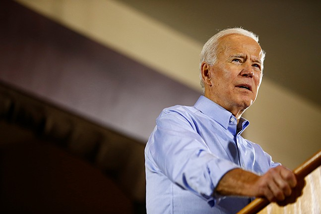 Presidential candidate Joe Biden speaks at Teamsters Hall in the Lawrenceville in April - CP PHOTO: JARED WICKERHAM