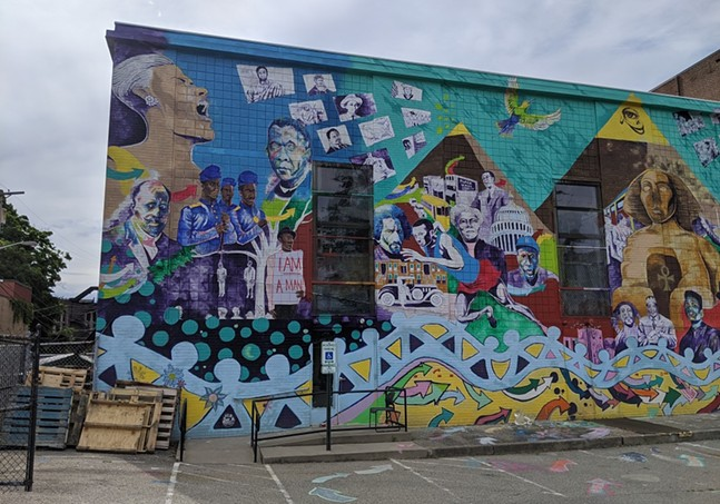 Mural by Moving Lives of Kids and Kyle Holbrook, Community Empowerment Association (CEA) building, Homewood. - CP PHOTO: AMANDA WALTZ