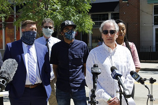 Mike Fuoco speaks to reporters in support of Post-Gazette journalists Alexis Johnson and Michael Santiago on June 8, 2020. - CP PHOTO: JULIA MARUCA