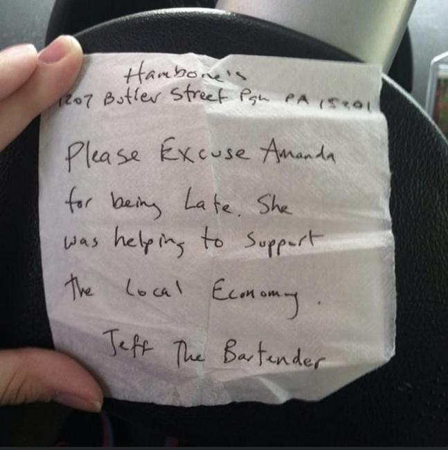 Note written for Amanda Averell by late Hambone's owner, Jeff Holt - PHOTO BY AMANDA AVERELL