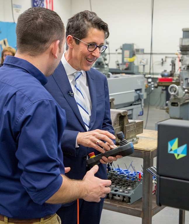Treasurer Joe Torsella gets hands-on experience at Indiana County Technology Center in April of 2018 as part of the launch of the Keystone Scholars pilot program. - PHOTO: COURTESY OF PENNSYLVANIA TREASURY