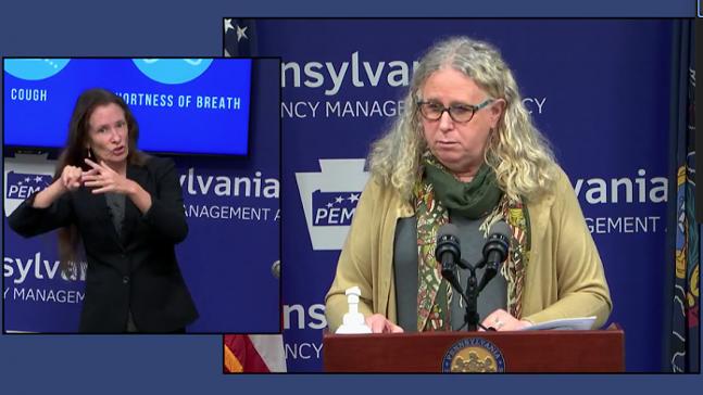 Pennsylvania Health Secretary Dr. Rachel Levine briefs reporters on Monday