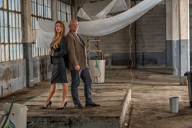 Maria Caruso (left) and  David Colaizzi (right) at the future Movement Factory - PHOTO: JOSHUA SWEENY