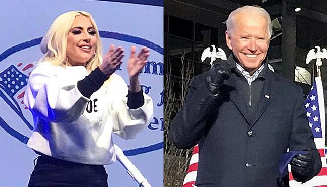 Lady Gaga and Joe Biden in Pittsburgh - CP PHOTOS: RYAN DETO