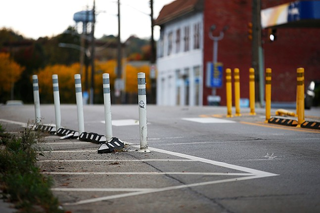 A city traffic-calming installation on Frankstown Avenue in Larimer - CP PHOTO: JARED WICKERHAM