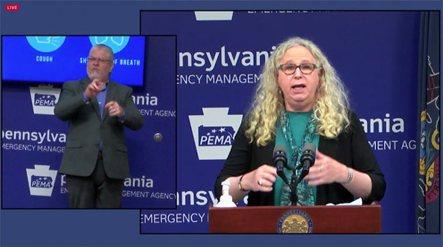 """Pennsylvania Health Secretary Dr. Rachel Levine warns of a """"fall resurgence"""" of COVID-19 cases during a news conference on Mon., Oct. 19, 2020 - SCREENSHOT FROM LIVE VIDEO"""