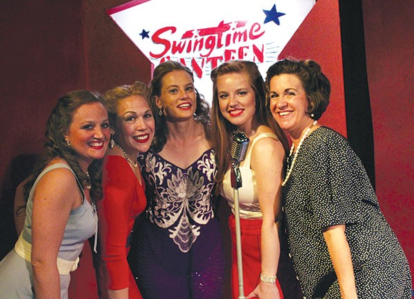 From left to right: Betsy Marinucci, Lori Comber, Margi Swellie, Leighann Calamera and Krista Strosnider in Swingtime Canteen,at South Park Theatre - PHOTO COURTESY OF JOSH REARDON