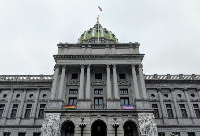 Pride flags are flown outside Lt. Gov. John Fetterman's capitol office - PENNSYLVANIA CAPITAL STAR PHOTO: SARAH ANNE HUGHES