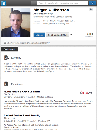 Morgan Culbertson's LinkedIn profile