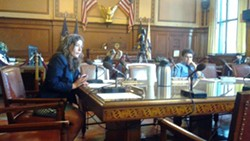 Councilor Deb Gross, co-sponsor, and Councilor Corey O'Connor, chief sponsor, speak after listening to public testimony. - PHOTO BY ASHLEY MURRAY