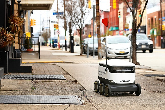 A Starship food delivery robot is seen along Liberty Avenue in Bloomfield in March 27. - CP PHOTO: JARED WICKERHAM