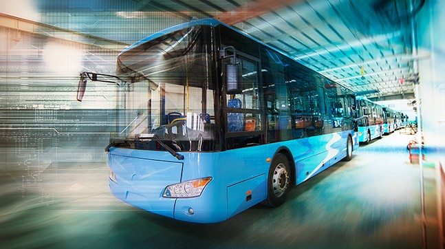 Stock photo of an electric bus
