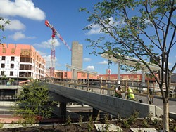 Work on the pedestrian and bicycle bridge at the East Liberty Transit Center is almost completed. - PHOTO BY RYAN DETO