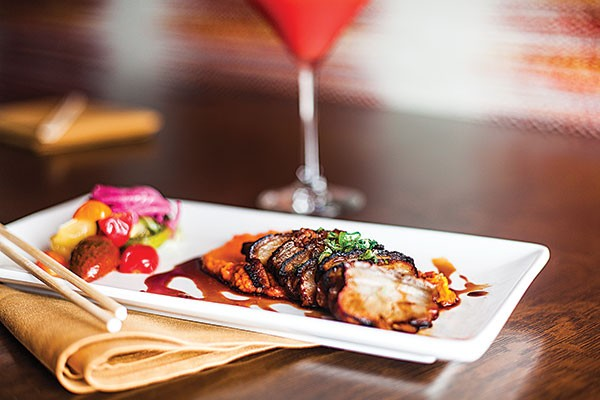 Sichuan braised pork belly with a Japanese yam, carrot, and ginger purée accompanied by house-pickled heirloom tomatoes, and Blood Diamond martini - PHOTO BY VANESSA SONG