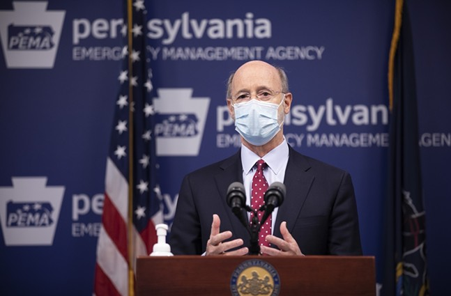 Gov. Tom Wolf at a press conference today. - PHOTO: COMMONWEALTH MEDIA SERVICES