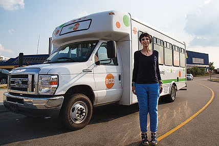 Lynn Manion with the ACTA shuttle outside IKEA - PHOTO BY THEO SCHWARZ