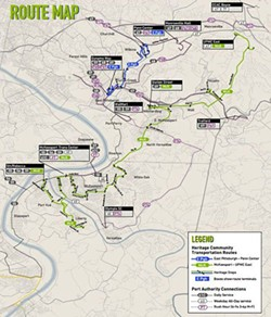 The green and blue routes represent Heritage's current service. The routes serve UPMC East in Monroeville, McKeesport, Penn Center Mall in Wilkins township and East Pittsburgh. A third route will be added in October, serving Braddock and the Wal-Mart in North Versailles. - PHOTO COURTESY OF PAULA MCWILLIAMS
