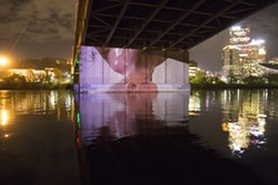 "A scene from ""H3O/OO2,"" beneath the Veteran's Bridge"
