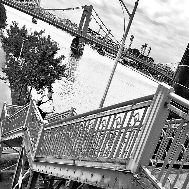 Steps leading up to the Rachel Carson Bridge, connecting Downtown Pittsburgh to the North Side - PHOTO: PAOLA CORSO