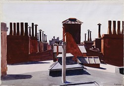 """Edward Hopper's watercolor """"Roofs, Washington Square"""" (1926) - BEQUEST OF MR. AND MRS. JAMES H. BEAL. IMAGE COURTESY OF THE CARNEGIE MUSEUM OF ART"""