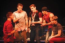 From left: Javier Manente, Carter Ellis, Michael James, Michael Greer and Mason Alexander Park in Pittsburgh CLO's Altar Boyz - PHOTO COURTESY OF MATT POLK
