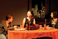 From left to right: Amy Portenlanger, Maura Underwood and Kaitlin Kerr in Brainpeople, at Throughline Theatre - PHOTO COURTESY OF RICK MOORE/THROUGHLINE THEATRE