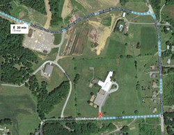 The site, the large gray rectangle in this map, sits slightly less than two-tenths of a mile behind Summit Elementary School and is clearly visible from the building and playground. - MAP DATA: GOOGLE, DIGITALGLOBE