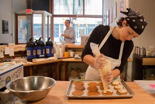Karla Schroeder, of Om Nom Bake Studio, whips up a batch of Little Nebbie cookies - PHOTO BY THEO SCHWARZ