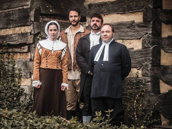 Left to right: Adrianne Knapp, Jason Spider Matthews, Jason Michael Swauger and George Saulnier in The Crucible, at Prime Stage - PHOTO COURTESY OF LAURA SLOVESKO