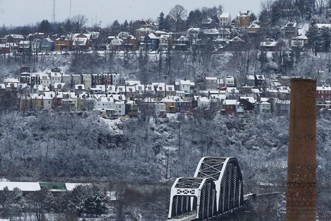 Snow falls in the Polish Hill neighborhood on Fri., Feb. 7, 2020. - CP PHOTO: JARED WICKERHAM