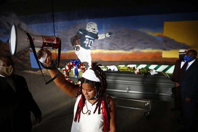 Danielle Brown, mother of Marquis Jaylen Brown, a Duquesne University student and football player who died in October of 2018, held a living eulogy on day thirty four of her hunger strike at Freedom Corner before marching to the campus of Duquesne University on Thu., Aug. 6, 2020. - CP PHOTO: JARED WICKERHAM