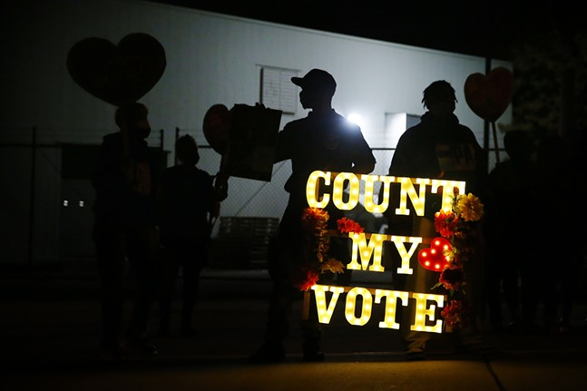 OnePA, Working Familiar Party, 1Hood, Bpep, and Black Voters Matter host a #CountEveryVote action before marching to the Allegheny County Elections warehouse in the North Side on Thu., Nov. 5, 2020. - CP PHOTO: JARED WICKERHAM