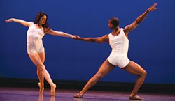 """Diana Figueroa and Justus Whitfield in Septime Webre's """"Fluctuating Hemlines. - PHOTO COURTESY OF JEFF SWENSEN"""
