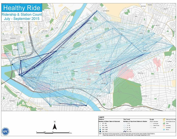 Pittsburgh's most popular Healthy Ride routes in dark blue. - IMAGE COURTESY HEALTHYRIDEPGH.COM