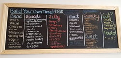 The menu board at Peanut Butter Jelly Time - PHOTO BY REBECCA NUTTALL