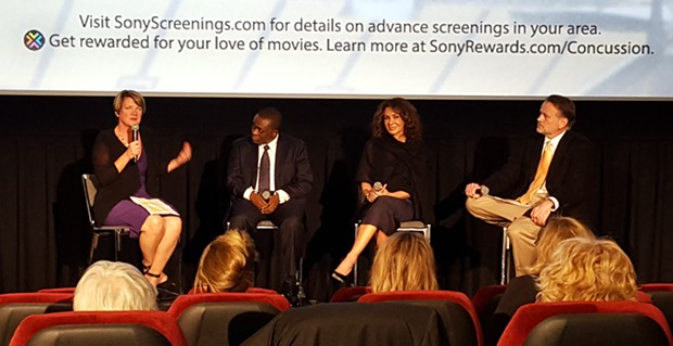 From left: Jeanne Marie Laskas, Dr. Bennet Omalu, Giannina Scott and Dr. Clayton Wiley - PHOTO BY REBECCA NUTTALL