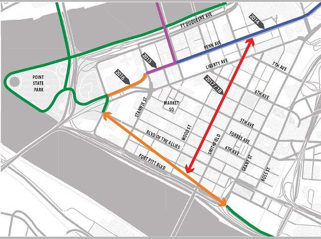 Map of existing and proposed bike-infrastructure routes for Downtown. Lines in orange and red are planned and do not show the specific future alignments. - IMAGE COURTESY OF KRISTIN SAUNDERS