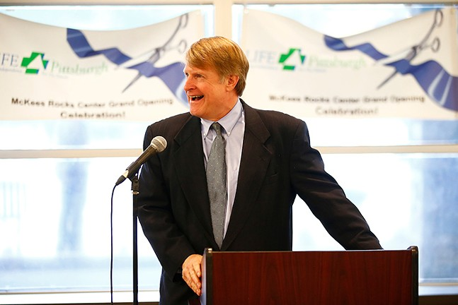 Rich Fitzgerald at a ribbon cutting ceremony at the Life Pittsburgh event in McKees Rocks - CP PHOTO: JARED WICKERHAM