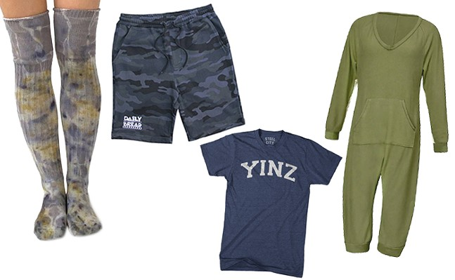 Left to right: Bundle Dyed Socks from Flux Bene, Moosh Sweat Shorts in Black Camo from Daily Bread, Yinz University T-shirt from Steel City, Onesie from Kiya Tomlin - PHOTOS: FLUX BENE, DAILY BREAD, STEEL CITY, KIYA TOMLIN