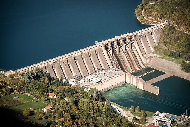 A hydro-electric dam