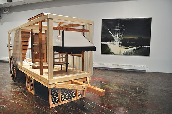 """""""Mo Ho (the horses died but the wagon rolled on)"""" (foreground), a work by Chele Isaac and BA Harrington in The Mountain and the Bumble Bee - PHOTO COURTESY OF SPACE"""