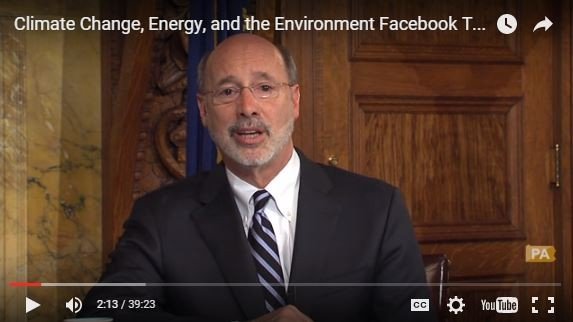 Pennsylvania Gov. Tom Wolf during a Jan. 19 Facebook town hall meeting on the environment.
