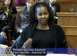 Marla Blunt testifies before city council