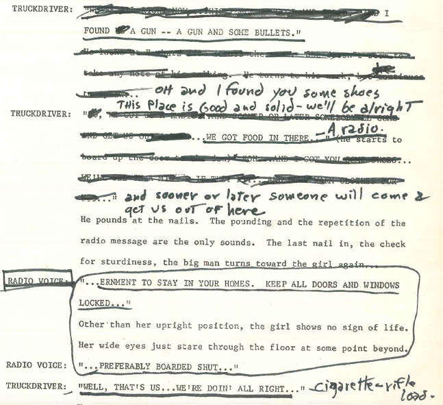 Night of the Living Dead script with annotations - GEORGE A ROMERO ARCHIVAL COLLECTION. PITT UNIVERSITY LIBRARY SYSTEMS