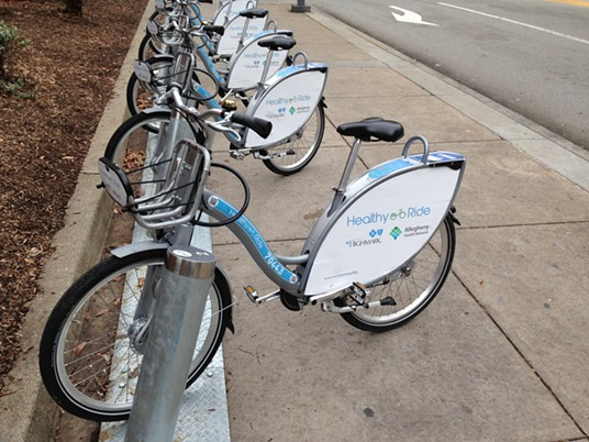 Healthy Ride station on Penn Avenue, Downtown - PHOTO BY RYAN DETO