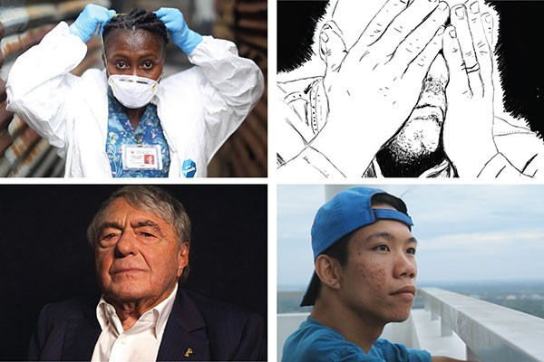 """Clockwise, from upper left: """"Body Team 12,"""" """"Last Day of Freedom,"""" """"Chau, Beyond the Lines"""" and """"Claude Lanzmann: Spectres of the Shoah"""""""