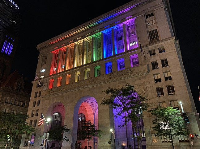 Pittsburgh City-County Building lit for Pride Month - JAMES HILL