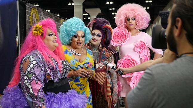 Mrs. Kasha Davis (second from left) with her fellow RuPaul's Drag Race contestants - ANGELA WASHKO