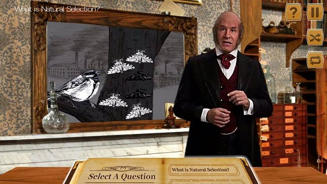 Darwin Synthetic Interview app allows users to ask questions about Charles Darwin on their mobile devices.